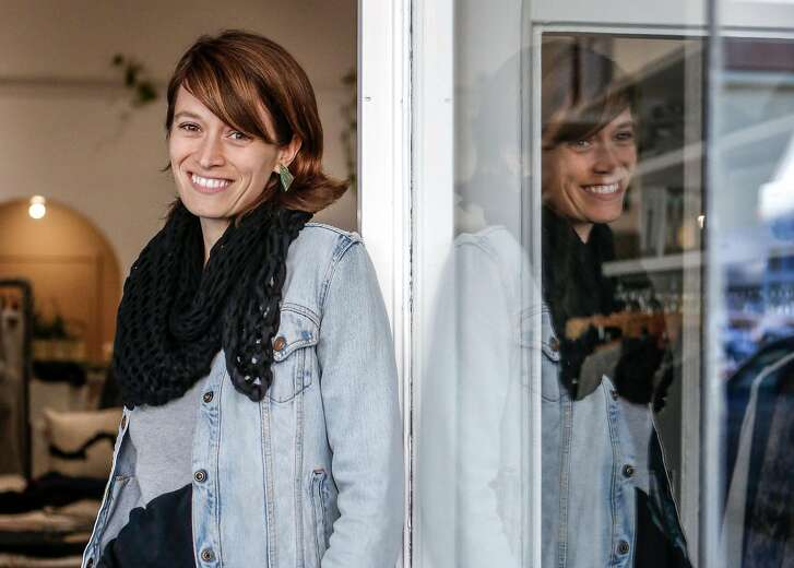 Designer and founder of Tonl� a zero-waste women's clothing company, Rachel Faller, at her pop up location in the Marina on Thursday, January 3, 2019 in San Francisco, Calif.