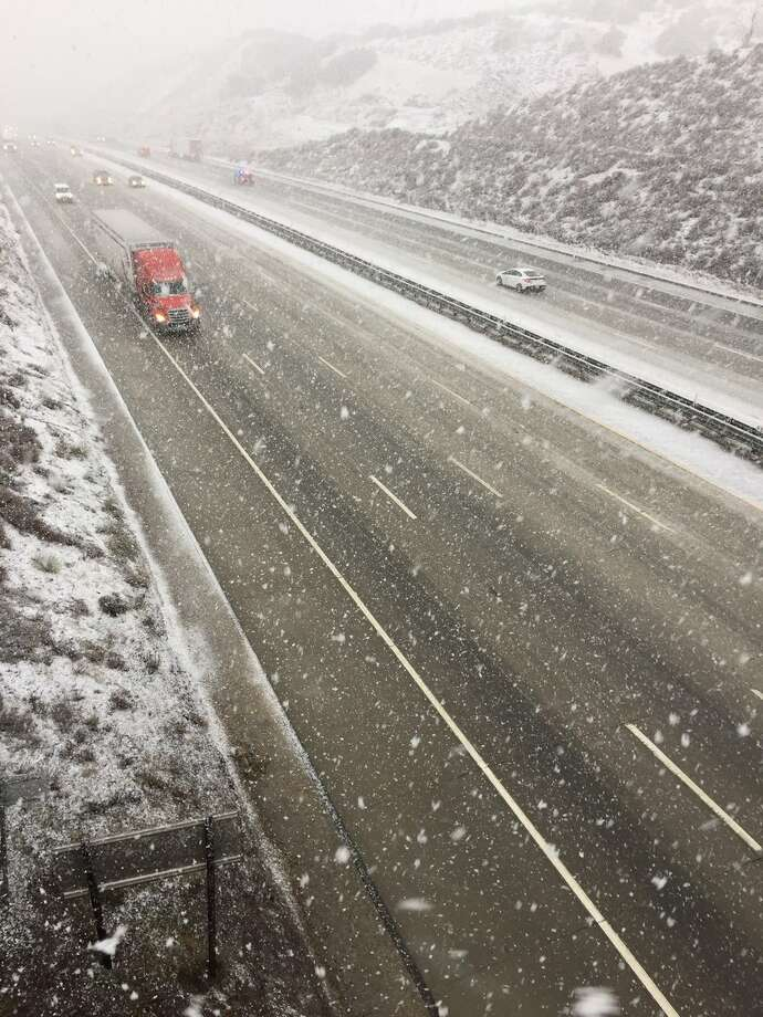 FILE — Snow on Interstate 5 over the Grapevine on Jan. 14, 2019. Forecasters warn the Grapevine and I-80 heading to Tahoe could have nasty winter weather conditions Thanksgiving week. Photo: Caltrans