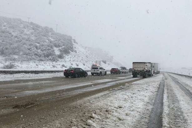 Snow closed Interstate 5 over the Grapevine, connecting California's Central Valley and Los Angeles, on Jan. 14, 2019.