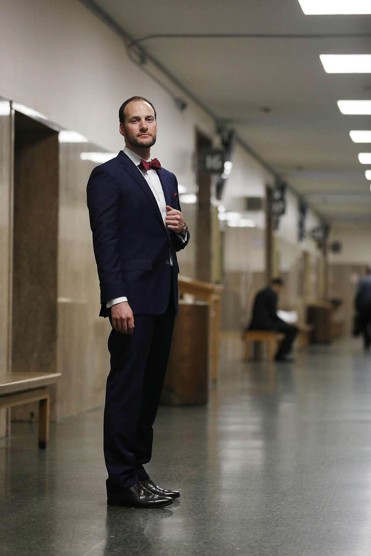 Deputy Public Defender Chesa Boudin stands for a portrait at the Hall of Justice on Monday, January 14, 2019 in San Francisco, Calif.
