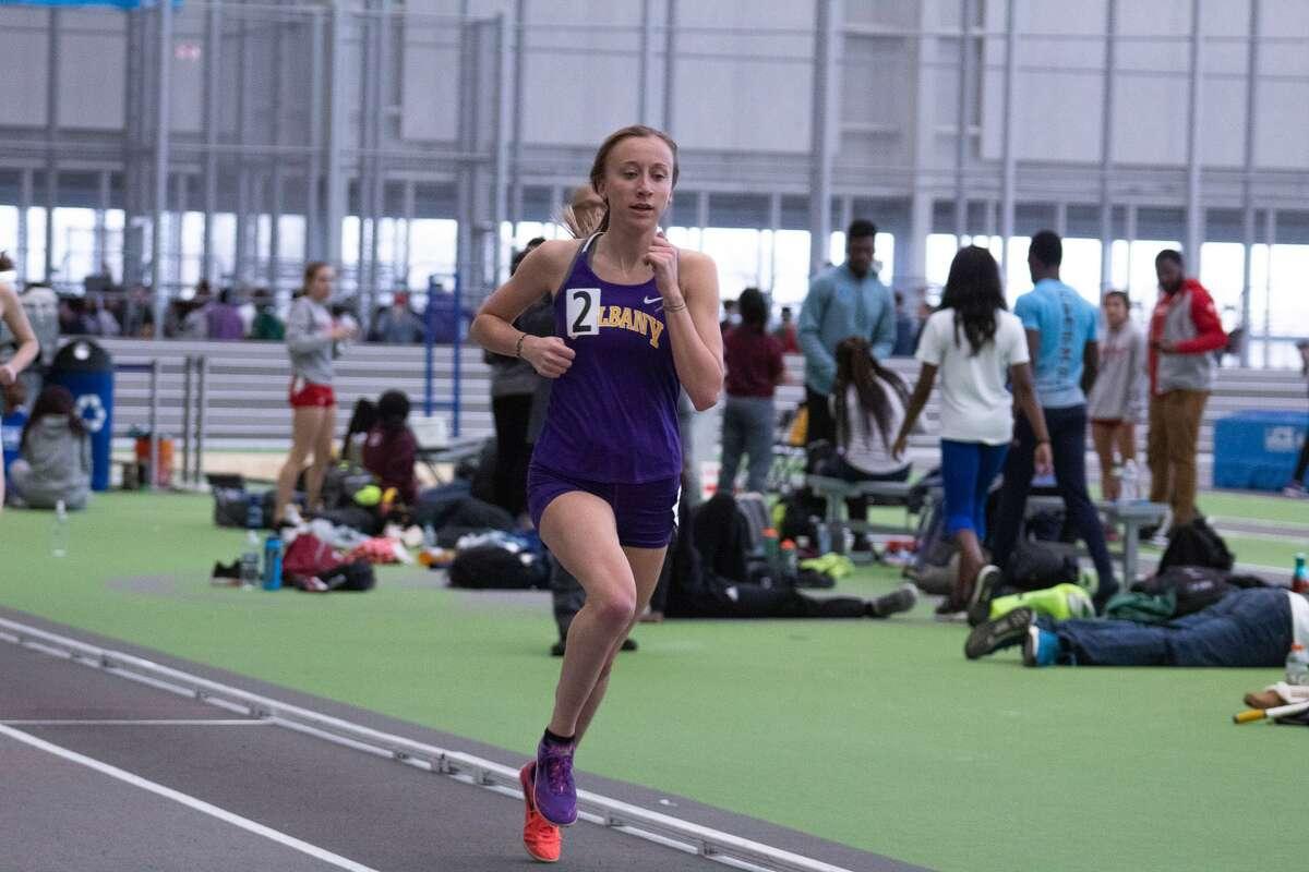 Mohonasen High School graduate Cara Sherman of the UAlbany indoor track team. (Jay Bendlin / UAlbany Athletics)