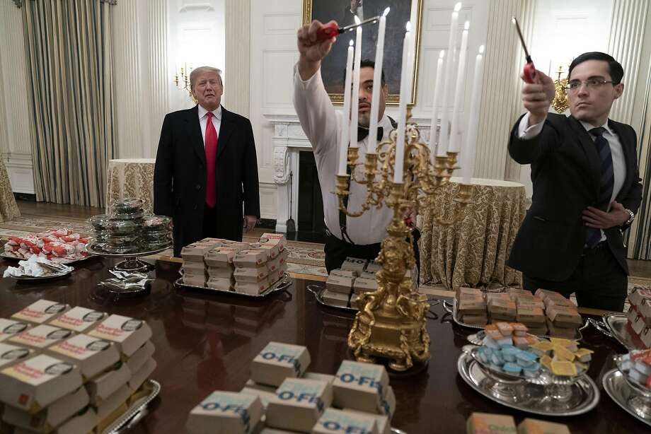 washington dc january 14 us president donald trump presents fast food to be