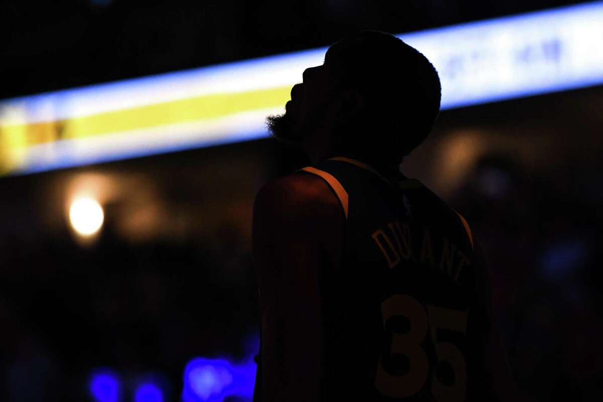 DENVER, CO - OCTOBER 21: Kevin Durant #35 of the Golden State Warriors is introduced before the game against the Denver Nuggets at Pepsi Center on October 21, 2018 in Denver, Colorado. NOTE TO USER: User expressly acknowledges and agrees that, by downloading and or using this photograph, User is consenting to the terms and conditions of the Getty Images License Agreement. (Photo by Justin Tafoya/Getty Images)