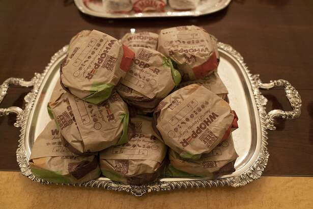 WASHINGTON, DC - JANUARY 14: (AFP OUT) A tray of Burger King Whoppers offered by U.S President Donald Trump are made available to the Clemson Tigers football team to celebrate their Championship at the White House on January 14, 2019 in Washington, DC. (Photo by Chris Kleponis-Pool/Getty Images)