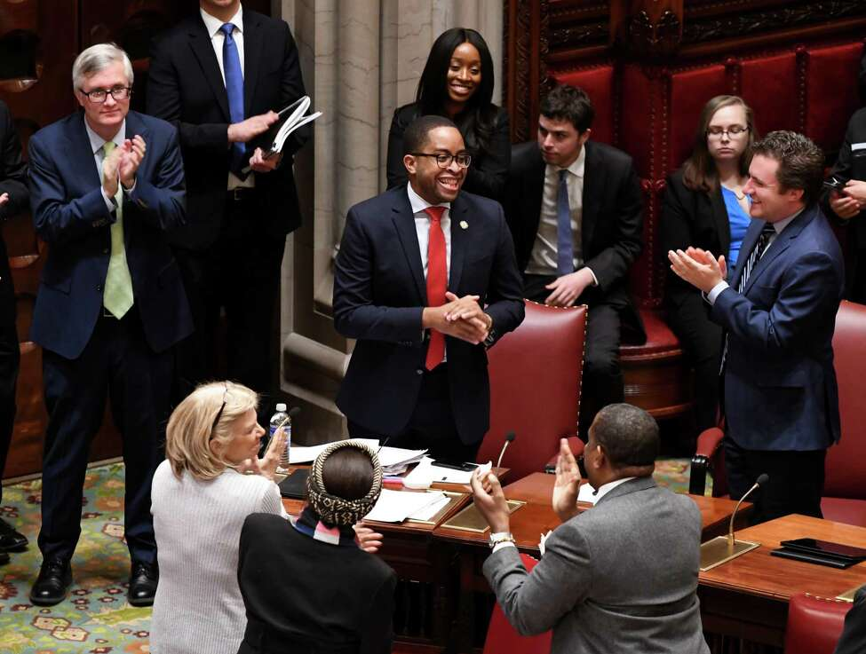 Sen. Zellnor Myrie, a Brooklyn Democrat pushing tougher penalties for corporations, believes this measure addresses a major inequity in the way the penal code treats corporations compared to actual people. (Will Waldron/Times Union)