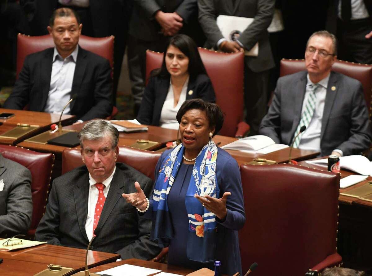 Senate Majority Leader Andrea Stewart-Cousins speaks on the Senate floor as the final in a series of voter reform bills were passed on Monday, Jan. 14, 2019, in the Senate Chamber at the Capitol in Albany, N.Y. During debate over early voting, Democratic lawmakers said they anticipated the budget would fund the initiative and also pointed to other savings for counties. (Will Waldron/Times Union)