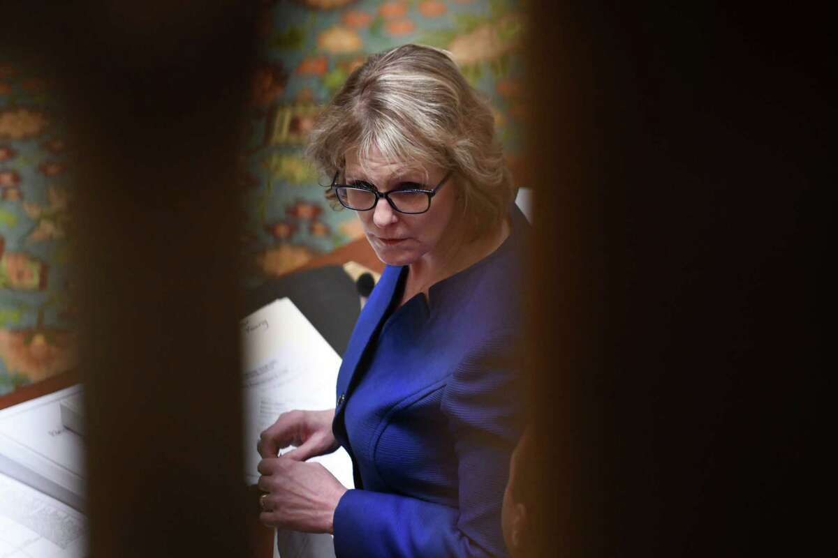 Republican Senator Catharine Young queries Democratic counterparts on a number of voter reform bills that were passed on Monday, Jan. 14, 2019, in the Senate Chamber at the Capitol in Albany, N.Y. (Will Waldron/Times Union)