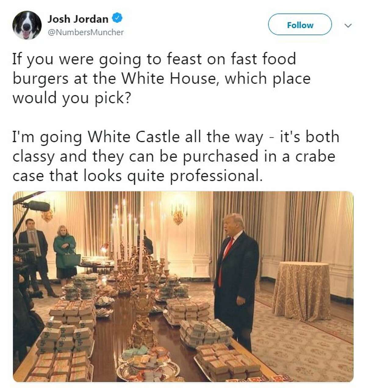 Internet reacts as President Donald Trump treats the Clemson Tigers to fast food at the White House.