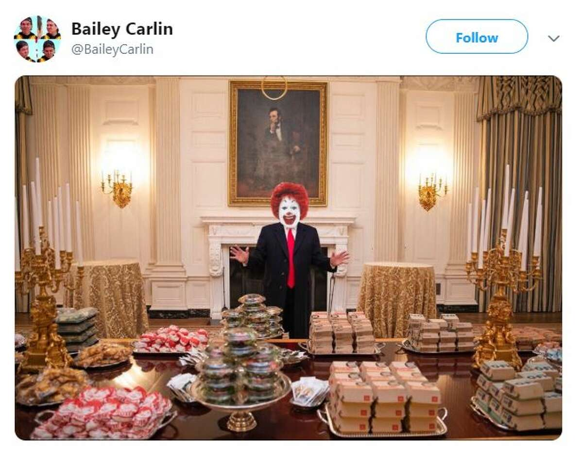 Internet reacts as President Donald Trump hosts the Clemson Tigers football team with fast food.