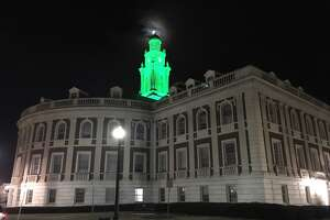 "The clock tower on city hall in Schenectady glowed with florescent green light as a symbol of city's surplus for 2018. Inside the building, Mayor Gary McCarthy gave his annual State of the City speech Monday with a presentation theme of  ""new lights shining bright in Schenectady."""