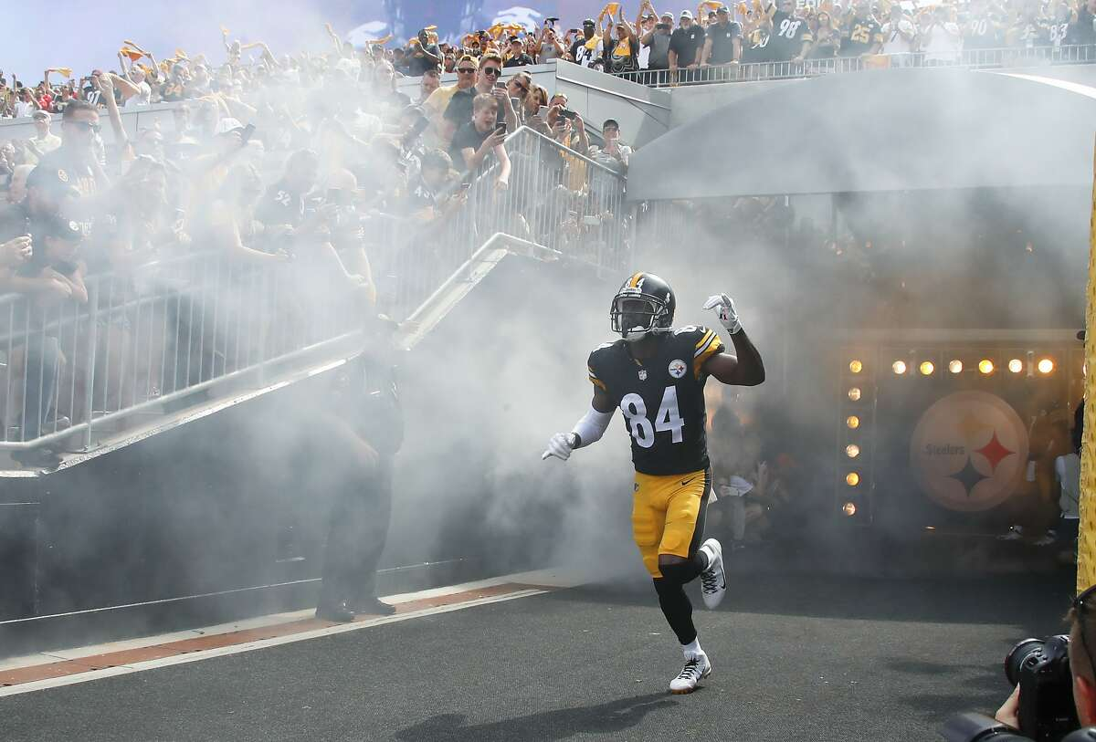 Pittsburgh Steelers wide receiver Antonio Brown (84) is introduced before an NFL football game against the Kansas City Chiefs, Sunday, Sept. 16, 2018, in Pittsburgh. (AP Photo/Gene J. Puskar)