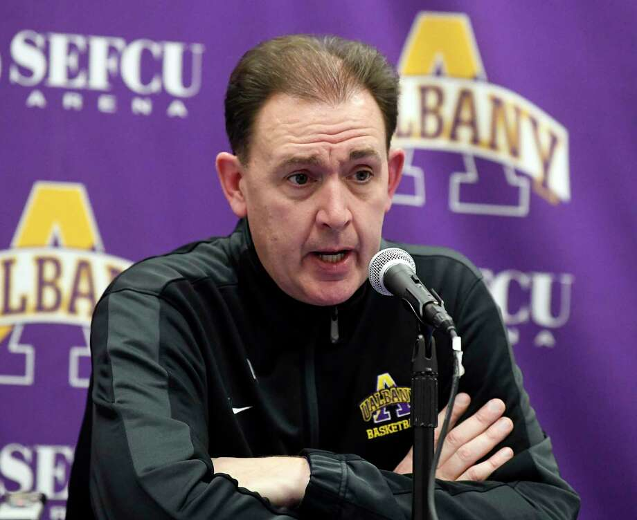 University at Albany head coach Will Brown talks with reporters after a 80-51 loss to Vermont after an NCAA college basketball game Saturday, Jan. 5, 2019, in Albany, N.Y. Vermont won the game (Hans Pennink / Special to the Times Union) Photo: Hans Pennink / Hans Pennink