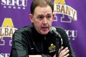 University at Albany head coach Will Brown talks with reporters after a 80-51 loss to Vermont after an NCAA college basketball game Saturday, Jan. 5, 2019, in Albany, N.Y. Vermont won the game (Hans Pennink / Special to the Times Union)