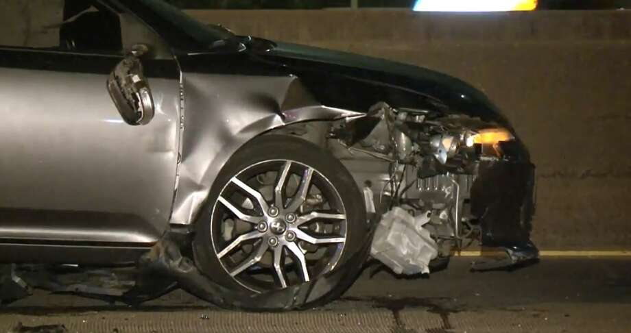 Six cars were involved in a crash on the North Freeway near Tidwell on Monday, Jan. 14, 2019. Photo: Metro Video