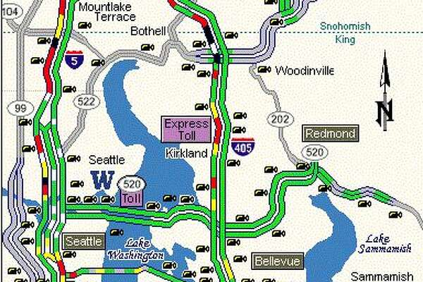 A map shows slow traffic on northbound Interstate 5 south of Seattle.