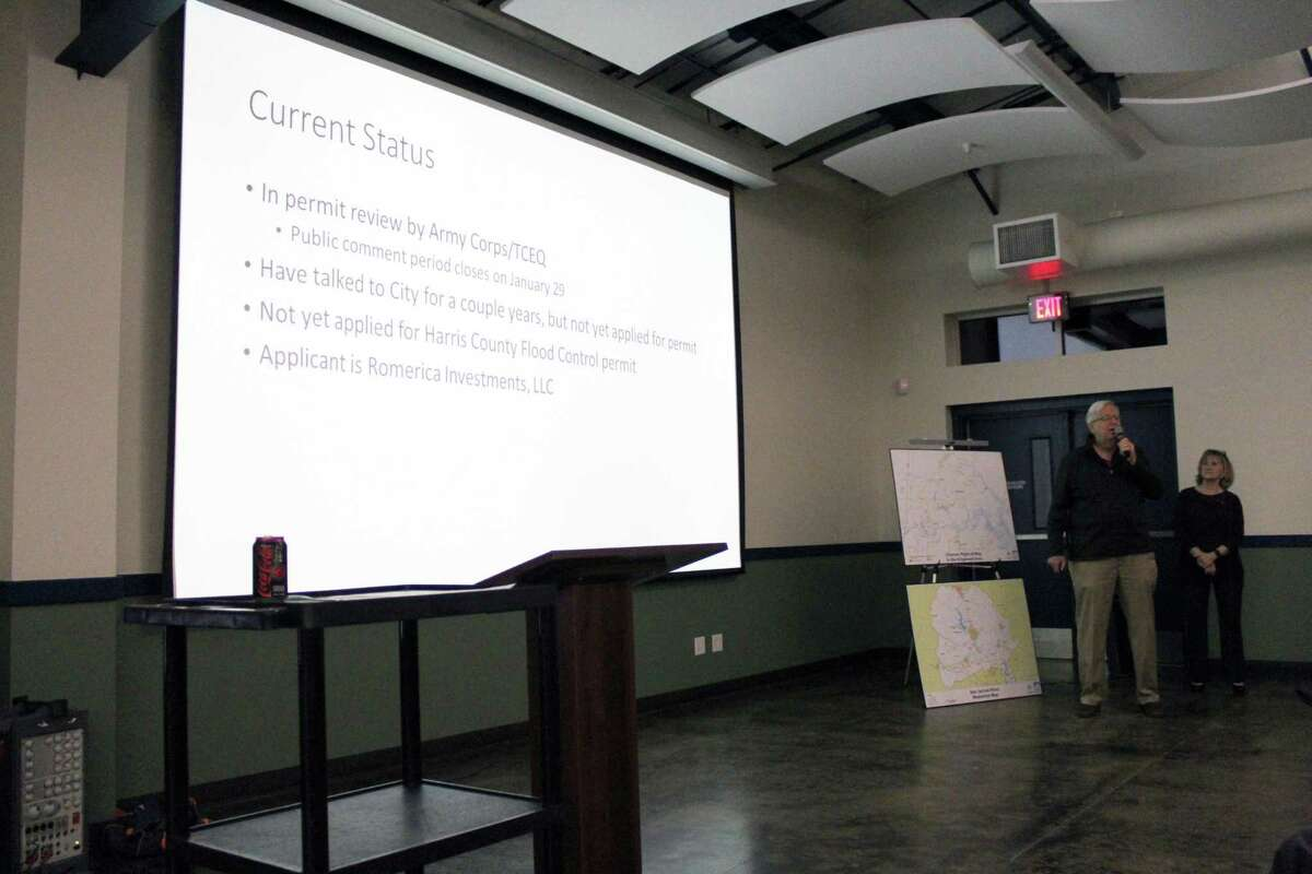 Kingwood resident Bob Rehak gives the crowd on Jan. 14, 2019 more insight about the Herons Kingwood Marina development and what phase it's currently in.