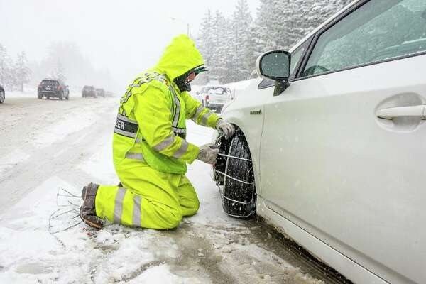 Chain control on Highway 80 over Donner Pass on Jan. 9, 2019