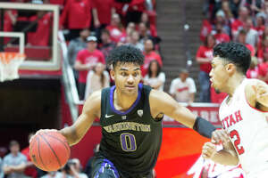 SALT LAKE CITY, UT - JANUARY 10: Washington Huskies guard Jamal Bey (0) during a college basketball game between the Utah Utes and the Washington Huskies on January 10, 2019, at the Huntsman Center in Salt Lake City, Utah. (Photo by Boyd Ivey/Icon Sportswire via Getty Images)