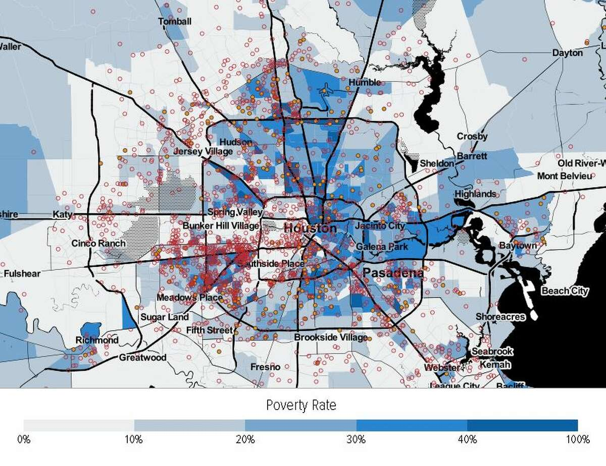 More families receiving vouchers live in high poverty neighborhoods, despite the fact that there are hundreds of affordable units located in low poverty neighborhoods. Each orange dot represents 100 households receiving vouchers, and each red circle represents 200 voucher-affordable rental units.>>>See more for a breakdown of where families with housing assistance live in Houston's suburbs relative to high poverty, low opportunity areas...