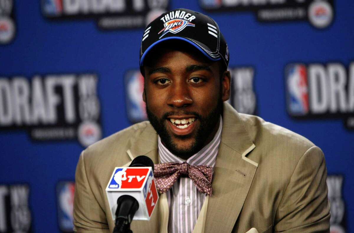 Then-Arizona State guard James Harden takes questions in the interview room after being selected by the Oklahoma City Thunder as the No. 3 pick in the first round of the NBA basketball draft Thursday, June 25, 2009, in New York.