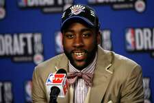 Arizona State's James Harden takes questions in the interview room after being selected by the Oklahoma City Thunder as the No. 3 pick in the first round of the NBA basketball draft Thursday, June 25, 2009, in New York.