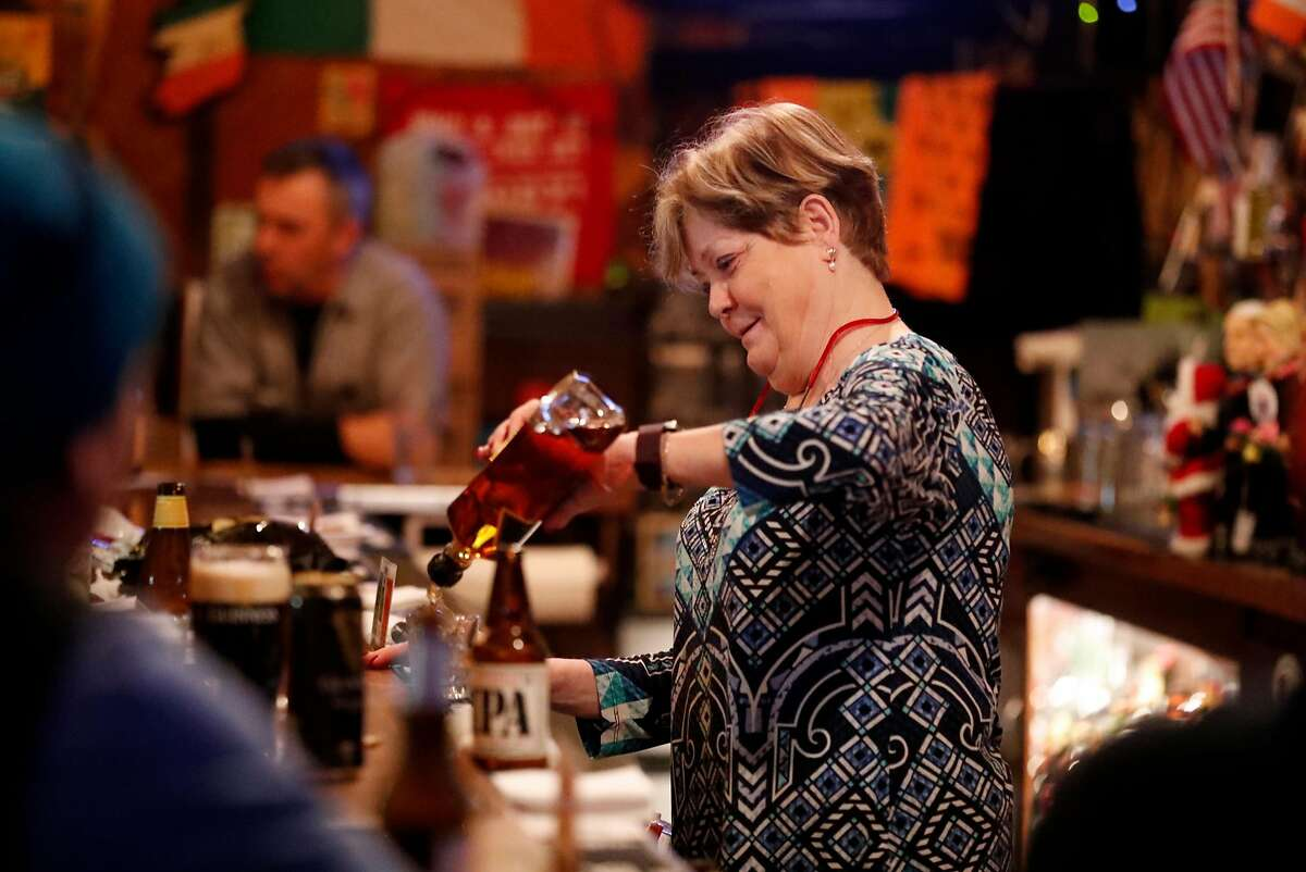 Annie O'Keefe works behind the bar at O'Keefe's in San Francisco, Calif. on Thursday, January 10, 2019.