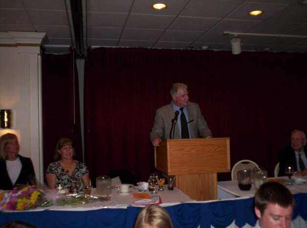 Westporter Bob Wickey received the PAL award from the Sportsmen of Westport in recognition for his volunteer work on behalf of Westport PAL. Photo: Eliot Schickler / Sports Editor