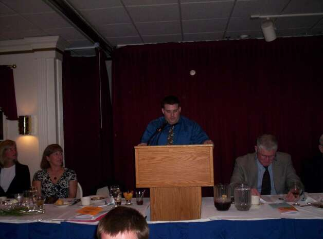 Staples wrestling Coach Kevin Lippert is the Coaching Award recipient from the Sportsmen of Westport. Photo: Eliot Schickler / Sports Editor
