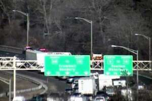Traffic cameras show a backup in the area of the crash in Bridgeport, Conn., on Jan. 15, 2019, on Route 8 north.