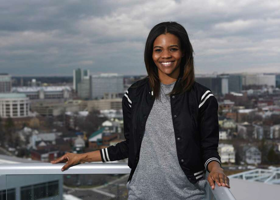 Degree180 CEO Candace Owens poses overlooking the city from her home office in Stamford, Conn. Monday, Feb. 29, 2016. Owens was bullied with racist threats as a student in high school and is now launching an anti-bullying website, Social Autopsy, which launches its beta version on Friday, March 4. Photo: Tyler Sizemore / Hearst Connecticut Media / Greenwich Time