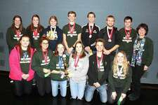Pictured are members of the Laker Science Olympiad teams. In the back row, from the left, are Clara Tait, Meleah Timmons, Hannah Penfold, Colin Truemner, Grant Gascho, Josh Lebsack, Mason Steele and head coach Deb Hasselschwert; front row, are Cassie Witherspoon, Abi Schuette, Maddie Burk, Karly Cunningham, Andrew Davis and Maci Main. (Submitted Photo)