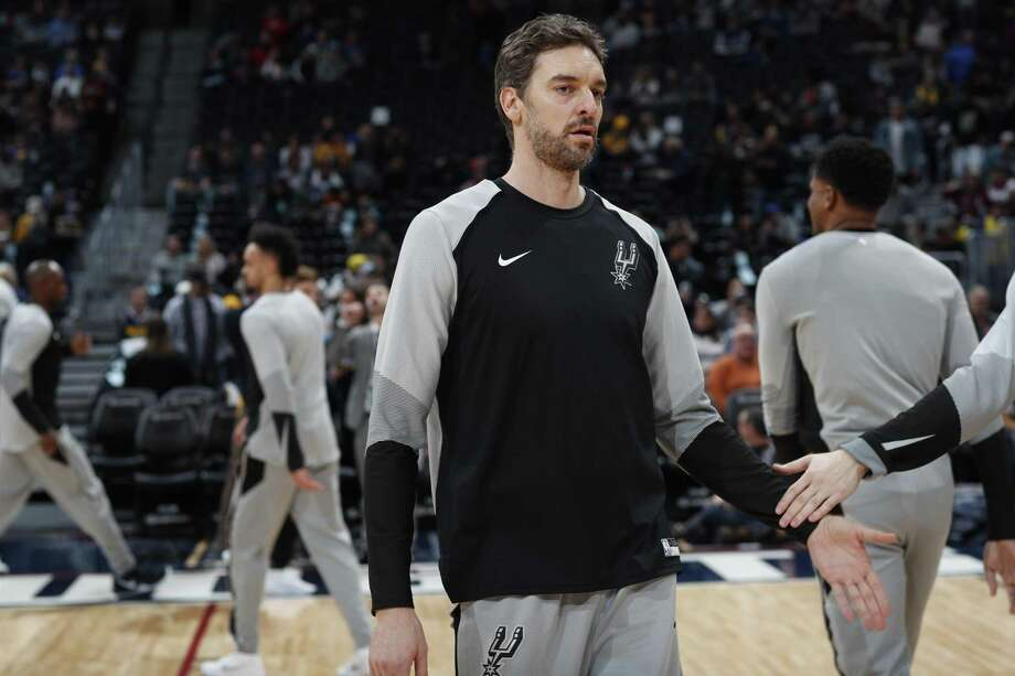 San Antonio Spurs center Pau Gasol (16) in the first half of an NBA basketball gsm Friday, Dec. 28, 2018, in Denver. (AP Photo/David Zalubowski) Photo: David Zalubowski, STF / Associated Press / Copyright 2018 The Associated Press. All rights reserved.