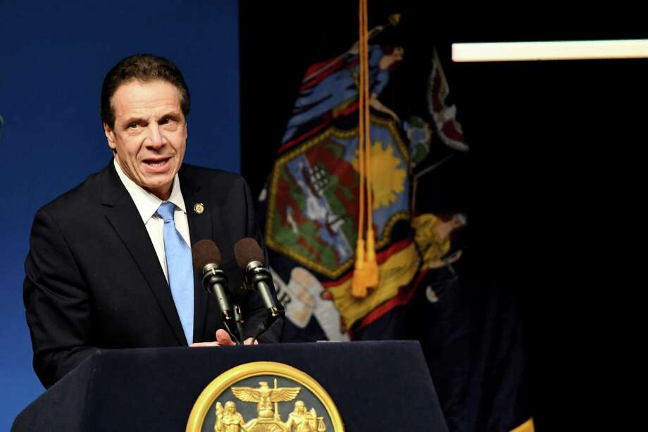 Gov. Andrew Cuomo delivers his budget address and state of the state on Tuesday, Jan. 15, 2019, at The Egg in Albany, N.Y. (Will Waldron/Times Union) Photo: Will Waldron, Albany Times Union / 20045932A