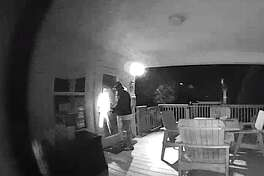 A would-be burglar appeared to use a buzzsaw on the door of a Gilchrist home recently. The homeowner saw the man on his doorbell camera and spooked him.
