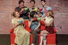 "Sami Griffith, seated right, and the cast of ""Friends! The Parody."""