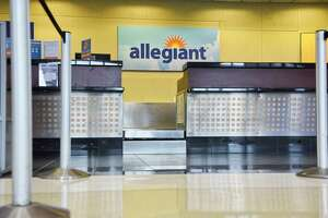 A view of the Allegiant ticket counter at the Albany International Airport on Tuesday, Jan. 15, 2019, in Colonie, N.Y.  Allegiant will begin flights to Myrtle Beach from Albany.    (Paul Buckowski/Times Union)