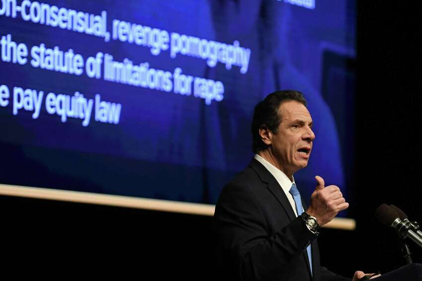 Gov. Andrew Cuomo delivers his budget address and state of the state on Tuesday, Jan. 15, 2019, at The Egg in Albany, N.Y. (Will Waldron/Times Union)