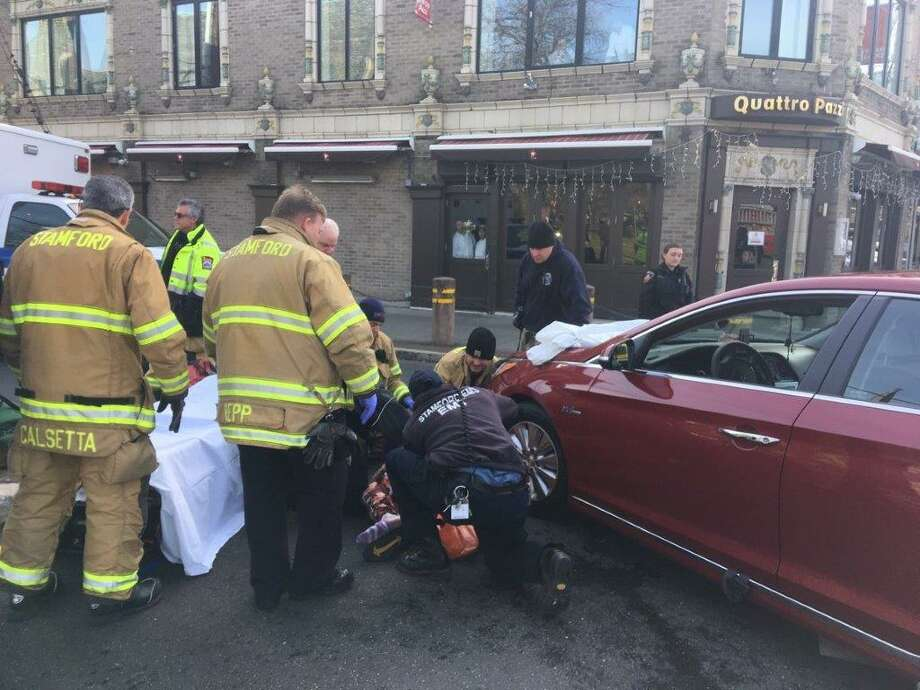 A woman was struck in a crosswalk during an early Tuesday afternoon accident in downtown Stamford. Photo: Stamford Police / Contributed