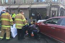 A woman was struck in a crosswalk during an early Tuesday afternoon accident in downtown Stamford.