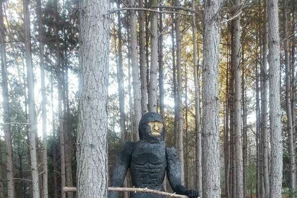 Passersby keep mistaking a chainsaw carving for Bigfoot near Mocksville, N.C.