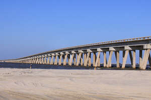 The San Luis Pass Bridge connecting Galveston and Brazoria County is in need of repairs due to concrete erosion.