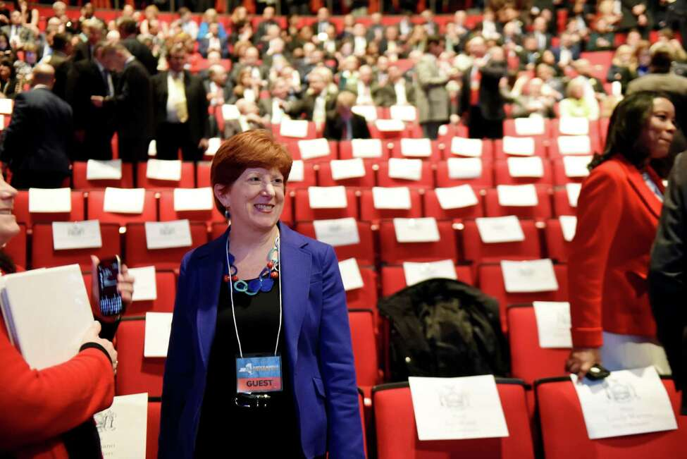 Mayor Kathy Sheehan arrives early for the start of Gov. Andrew Cuomo's budget address and state of the state on Tuesday, Jan. 15, 2019, at The Egg in Albany, N.Y. (Will Waldron/Times Union)