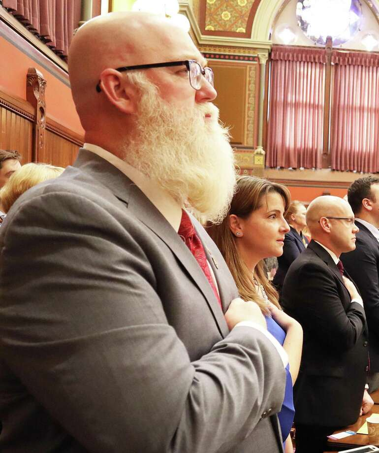 Spectrum/One of the final bills taken up by the House of Representatives the week of May 13 was State Rep. Bill Buckbee's (R-67th) proposal to study the use of blockchain technology to collect voter information. Buckbee is shown above in January 2019 as he is sworn into his second term as state representative. Photo: Courtesy Of State Rep. Bill Buckbee / The News-Times Contributed