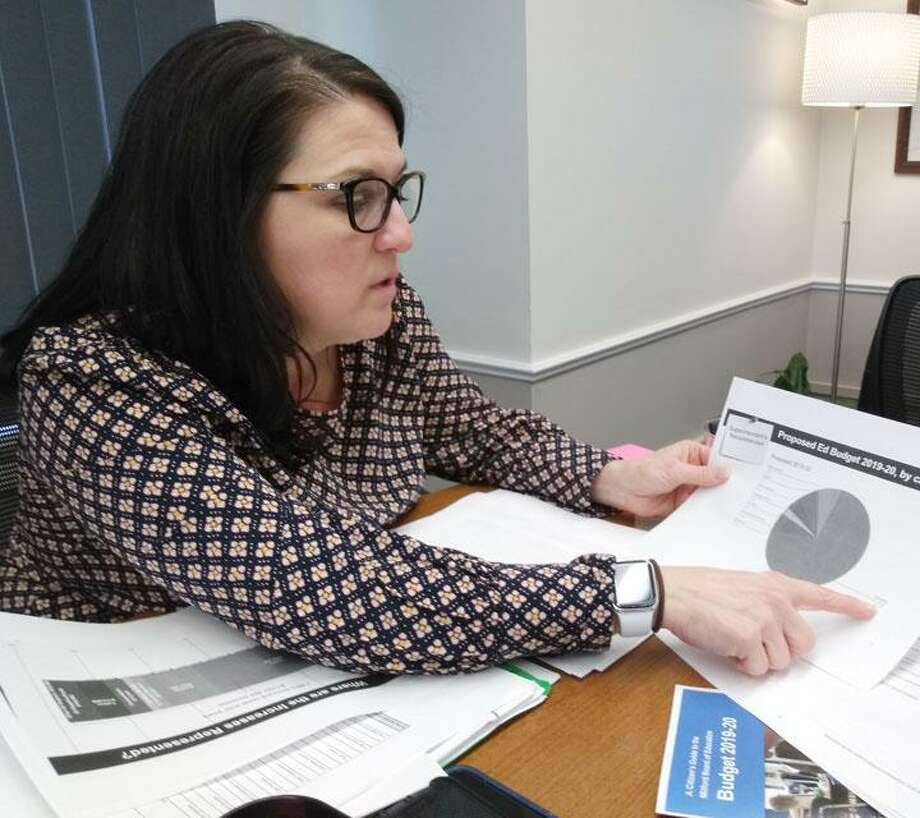 School Supt. Dr. Anna Cutaia discusses her 2019-2020 budget proposal with local reporters Monday afternoon. Photo: Jill Dion