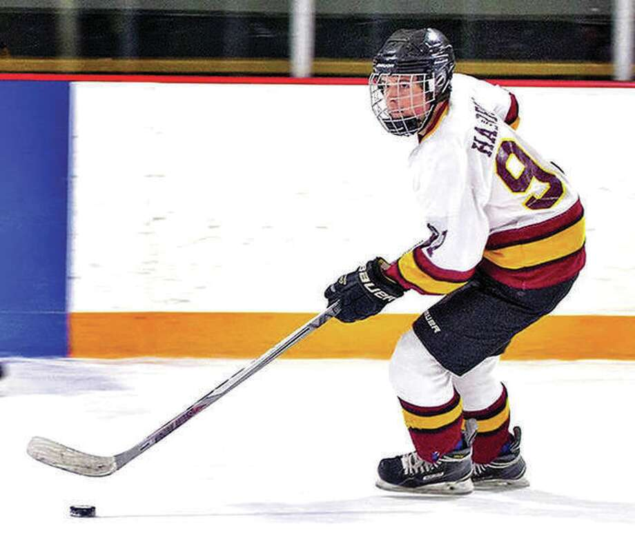 EA-WR senior Kaleb Harrop scored six goals against Collinsville Monday night and took over as the school career scoring leader with 123 goals, passing former Oilers standout Cole Ford, who scored 120 goals at EA-WR. Photo: Telegraph Photo