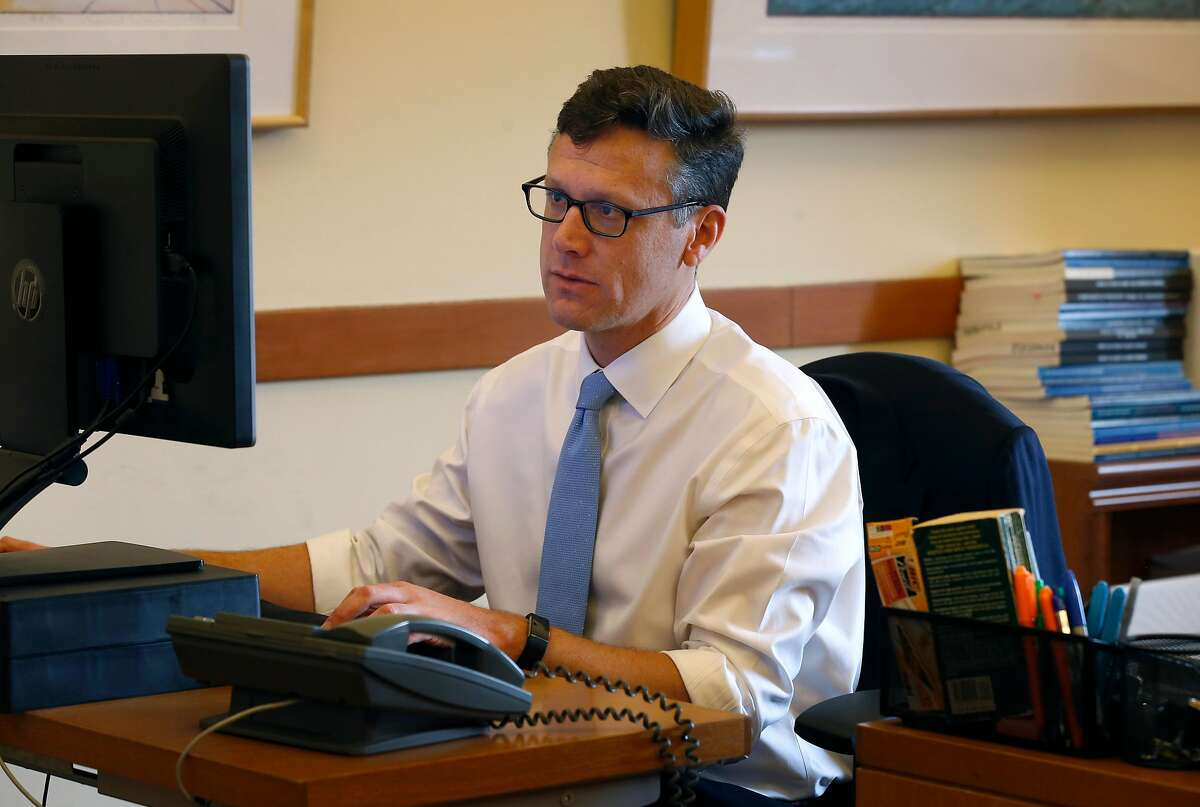 City Controller Ben Rosenfield works in his office at City Hall in San Francisco, Calif. on Friday, Nov. 9, 2018.