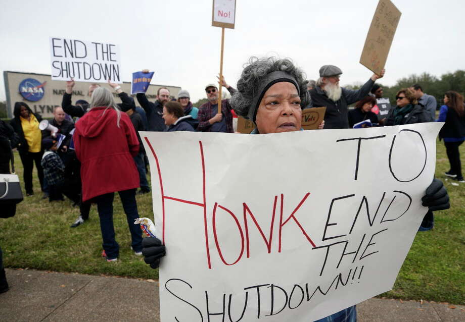 Valencia Budd, a retired NASA employee, protests with others outside of NASA's Johnson Space Center against the government shutdown Tuesday, Jan. 15, 2019, in Houston. Photo: Melissa Phillip, Staff Photographer / © 2019 Houston Chronicle