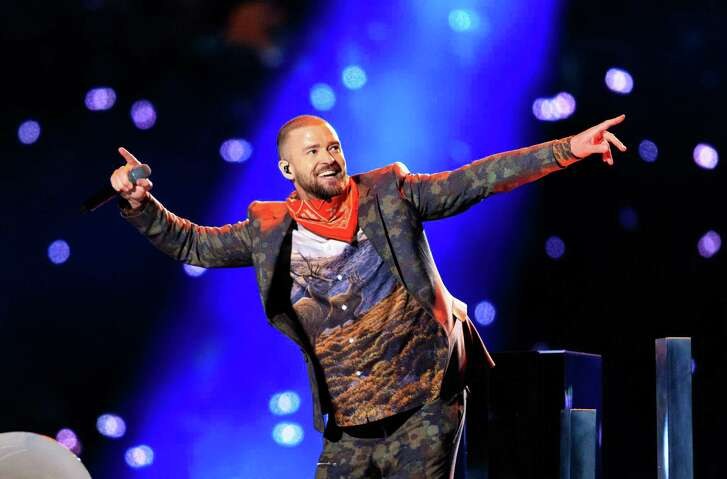 Artist Justin Timberlake performs during the halftime of Super Bowl LII days after the release of 'Man of the Woods.'