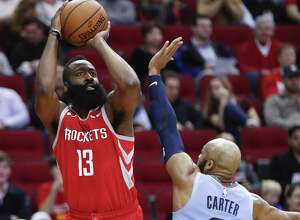 James Harden victimized Jevon Carter and the Grizzlies for 57 points Monday night, going 17-of-33 from the field in the Rockets' 112-94 win at Toyota Center.
