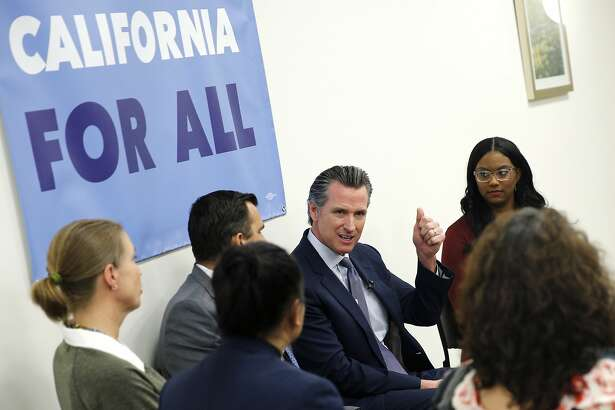 Gov. Gavin Newsom during a community meeting at the Seven Trees Community Center on Tuesday, Jan. 15, 2019, in San Jose, Calif. Alongside San Jose Mayor Sam Liccardo, Gov. Newsom met with people who are grappling with the state's housing crisis. At the event, the governor talked about housing proposals he laid out in the budget he submitted to the Legislature last week.